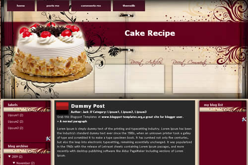 Free theme cake recipes