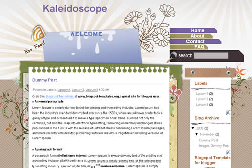 Kaleidoscope template