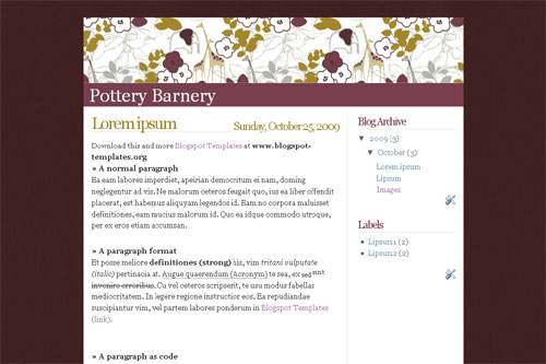 Pottery Barnery template